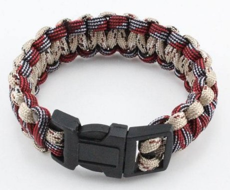 RedBeige Parachute Cord Emergency Survival Paracord Bracelet With Plastic Buckle