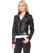 Womens Motorcycle Leather Jacket Black Lambskin Leather Belted  - $119.99