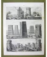 ROMAN MILITARY Sieges Towers Rams Trenches -1844 SUPERB Antique Print En... - $16.84