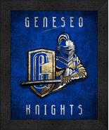 "Geneseo Knights ""Retro College Logo Map"" 13x16 Framed Print  - $39.95"