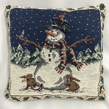 Mini Small Size Snowman Christmas Tapestry Throw Pillow Square Shape - $7.88