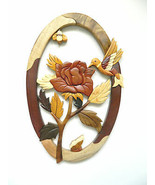 Hummingbird Rose Flower Bee Intarsia Wood Wall Art Home Decor Plaque Lodge New - £35.96 GBP
