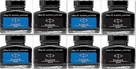 8 Parker Quink -4 Qty Blue + 4 Qty Black Ink Bottle (30 Ml each) 1 oz Ne... - $30.99