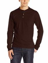 Hanes Men's Long-Sleeve Beefy Henley T-Shirt Small Dark Truffle Brown 3-... - $12.19