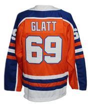 Custom Name # Halifax Highlanders Retro Hockey Jersey Orange Glatt #69 Any Size image 2