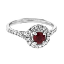 NWT GLK 14K WHITE GOLD 0.45CT DIAMOND AND RUBY HALO RING SIZE 7 - £2,157.35 GBP