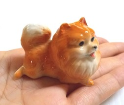Pomeranian Puppy Dog Miniature Figurine Brown Ceramic Animal Paint Dollh... - $9.49