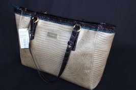 NWT Brahmin Medium Arno Shoulder Bag in Tri-Texture Shimmer Beige Brown ... - $254.00