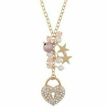 """Decree Necklace Heart & Stars Gold Tone 32"""" Fashion Jewelry Pink and Gold - $13.09"""