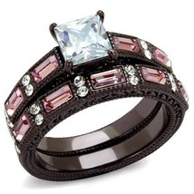 MJS Chocolate Stainless Steel Pink & White CZ Engagement Wedding Ring Se... - $22.05