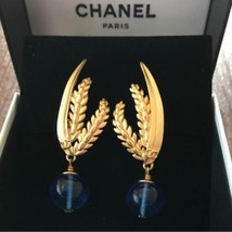 Authentic CHANEL Vintage Linestone Gold Logo Clip on Earrings CC Moon HCE047 - $908.82