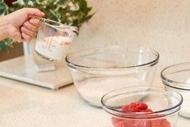 Anchor Hocking 4-Cup/1L Decorated Glass Measuring Cup W/Handale MADE IN USA NEW. - $24.60