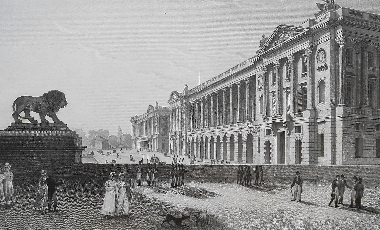 FRANCE Paris Place Louis XV - 1821 Antique Print by Cpt. Batty