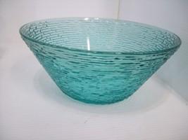 "11.5"" Teal Ultramarine Glass Salad Serving Bowl Dish textured Blue / Green - $19.79"