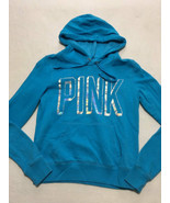 Victoria's Secret Pink XS Extra Small Blue Silver Holographic Logo Hoodie - $18.99
