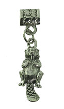 Canadian Beaver tail bead European jewelry bracelet Sterling silver 925 charm - $26.78
