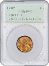 1909 Lincoln 1c PCGS MS65 RD (OGH Rattler Holder) - Lincoln Cent - $150.35
