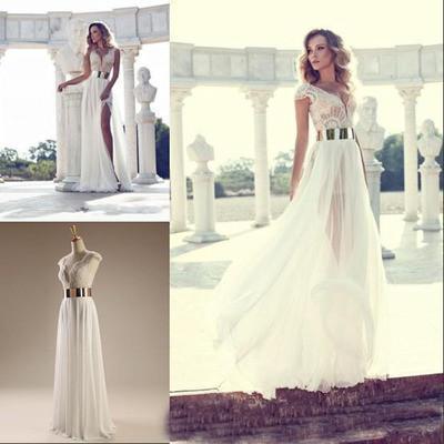 Cap sleeves elegant custom long side slit party evening prom dresses online pd0082