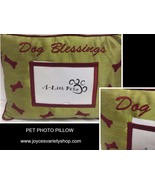 """Pet Pillow With Photo Pocket DOG BLESSINGS Green 15"""" x 12""""  - $10.99"""
