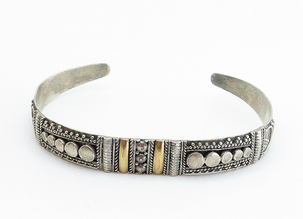 925 Sterling Silver - Vintage Two Tone Ornate Detail Cuff Bracelet - B6030 image 2