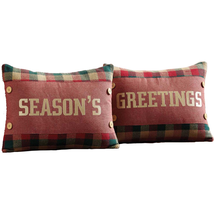 """Reed Embroidered 2-pc Pillow Set - 14""""x18"""" - VHC Brands - Country Christmas"""