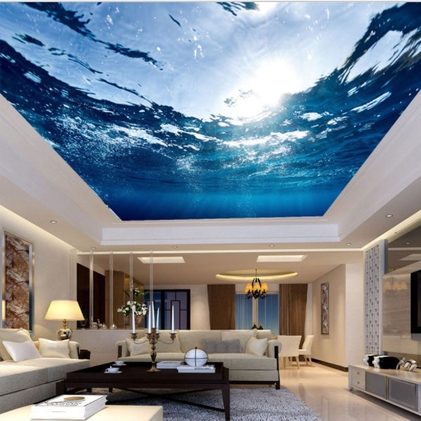 3d ceiling wallpaper underwater scene custom any size for Custom size wall mural