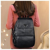 Women Leather Backpack Casual Daypack Shoulder Strap Black For Ladies Tr... - $53.13