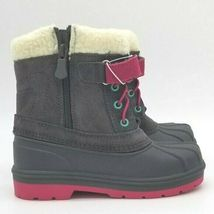 Toddler Girls Cat & Jack Valmai Grey Leather Magenta Thermolite Winter Boots NEW image 4