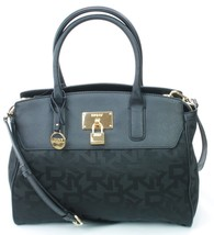 DKNY Donna Karan Black Leather PVC Heritage Tote Cross Body Bag Handbag - $281.48