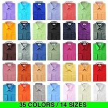 New Berlioni Italy Men Premium Classic French Convertible Cuff Solid Dress Shirt image 1