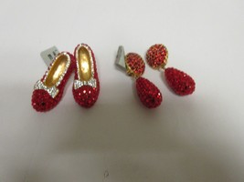 Costume Jewelry ,Vintage , Dorothy Red Slippers Brooch & Earrings , Unique - $49.50