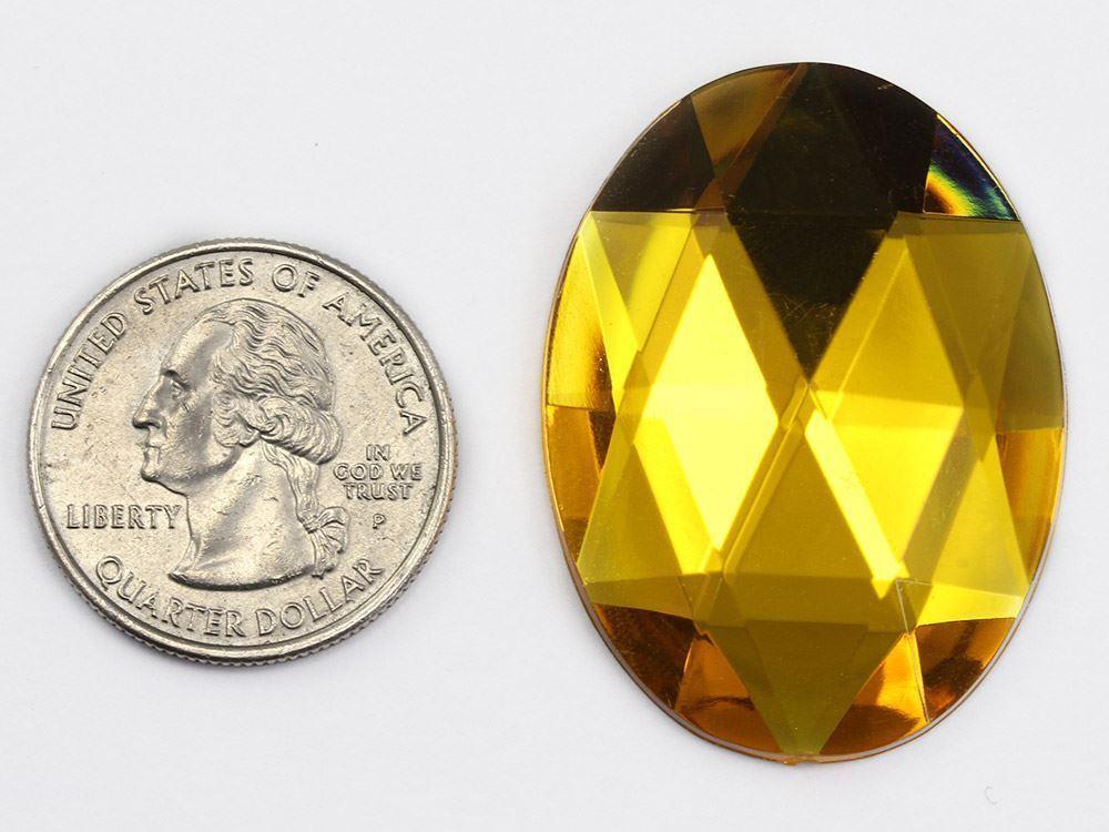 40x30mm Brown Smokey Topaz H131 Flat Back Oval Acrylic Gemstones 4 PCS