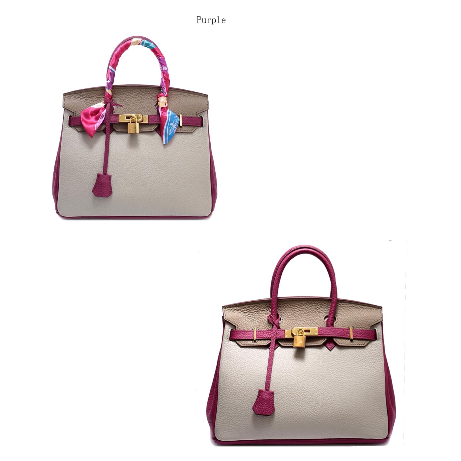 25cm Color Block Pebbled Italian Leather Birkin Style Satchel Handbag