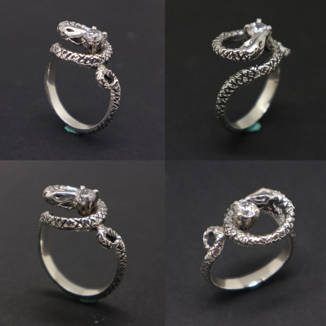 Silver Snake Biting Ring image 2