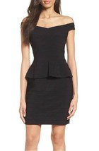 10 ADRIANNA PAPELL Black Off-The-Shoulder Banded Peplum Sheath Dress NWT... - $79.19