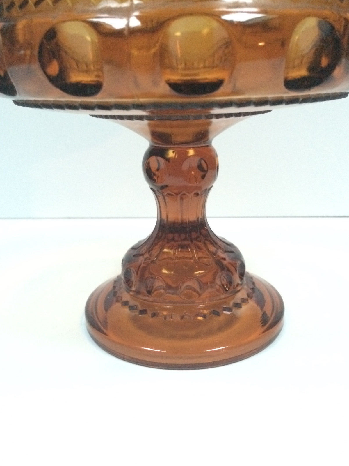 VTG Indiana Glass King Crown Thumbprint Compote Serving Candy Dish Amber Gold 7""