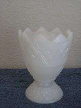 Milk White Decorative Star Theme Milk Glass Vase Scalloped Top - $7.66