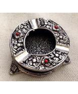 Vintage Tibetan/Nepali Pure Silver and Coral Ashtray - $175.00