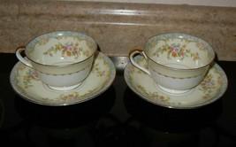 Noritake Naomi 674 China 4 Piece Footed Tea Cup & Saucer Vintage Japan F... - $39.59