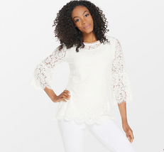 Isaac Mizrahi Live! Floral Lace 3/4 Bell Sleeve Tunic, Cream, Small - $29.69