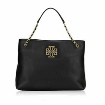 Tory Burch Womens Black Gold Leather Britten Triple Tote Bag Purse 8647-5 - $463.32