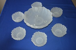 Indiana Colony Glass Petal Collection Frosted Sunflower Serving & 6 small Bowls - $24.75