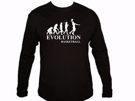 Evolution Basketball player funny black sleeved 100% cotton new t-shirt - $13.99