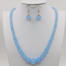 Beautiful Beads Necklace Chain Earring Sets Blue Aventurine Round Beads ... - $24.74
