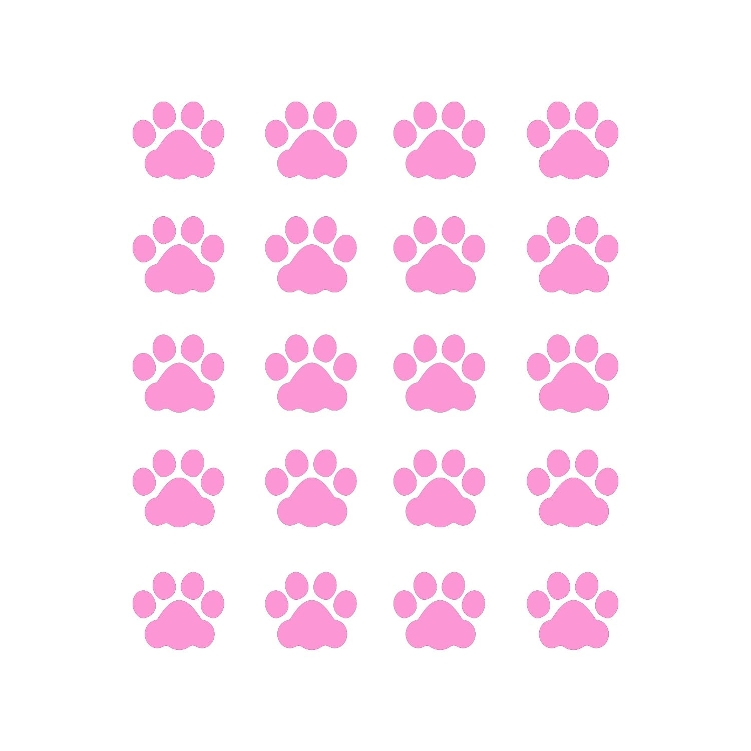 LiteMark 1 Inch Pink Cat Paw Prints - Pack of 60