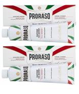 Proraso Shaving Cream with Green Tea & Oatmeal, Sensitive, White, 5.2oz (2 Pack) - £10.87 GBP