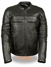 Men's Event Leather Crossover Scooter Jacket w/ Reflective Piping(Split Cowhide) - $119.99