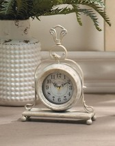 Mantel Tabletop Clock w/ Bird on Top Antique White Finish French Country Decor - $40.95