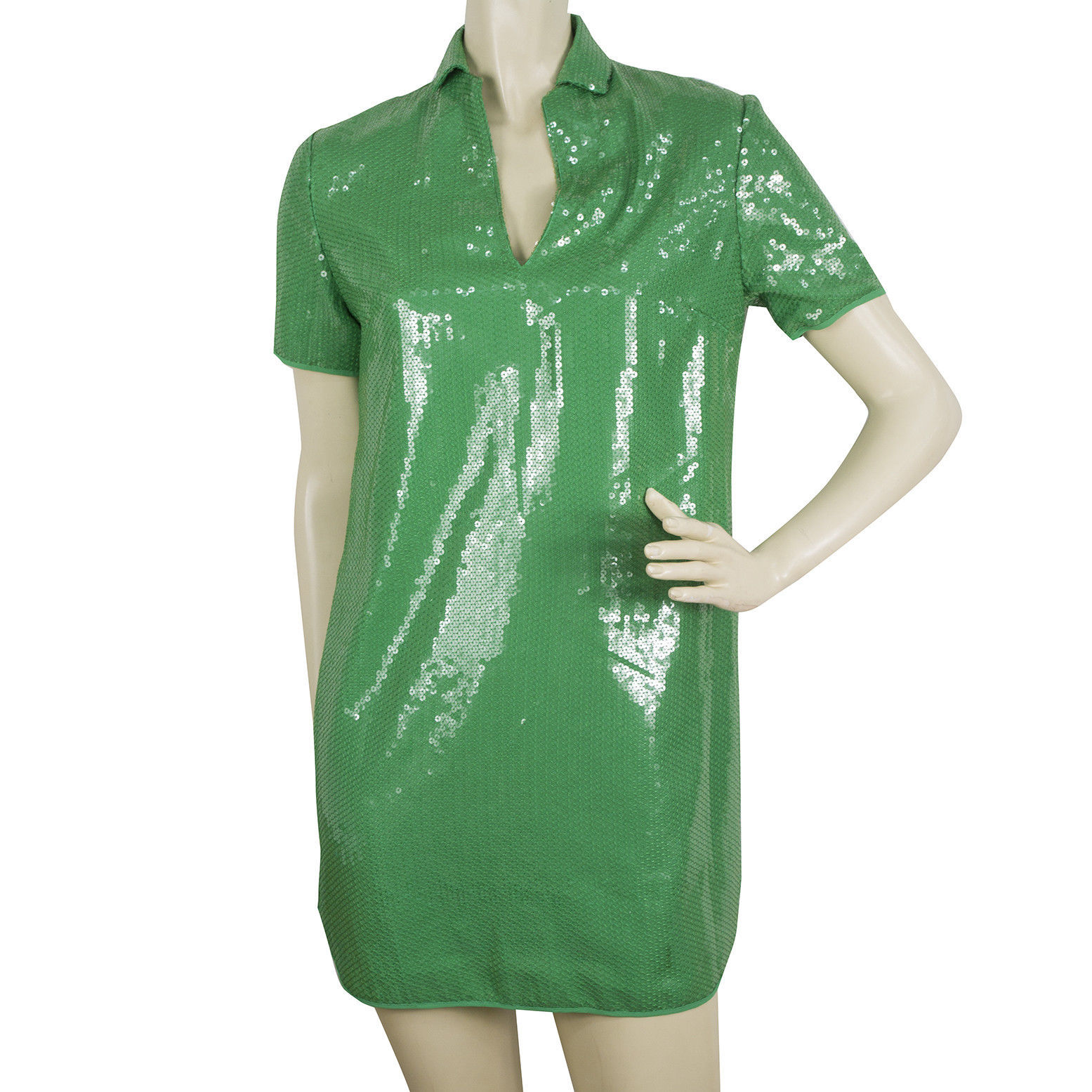 Primary image for Halston Heritage Bright Green Fully Sequined Mini Length Dress size XS