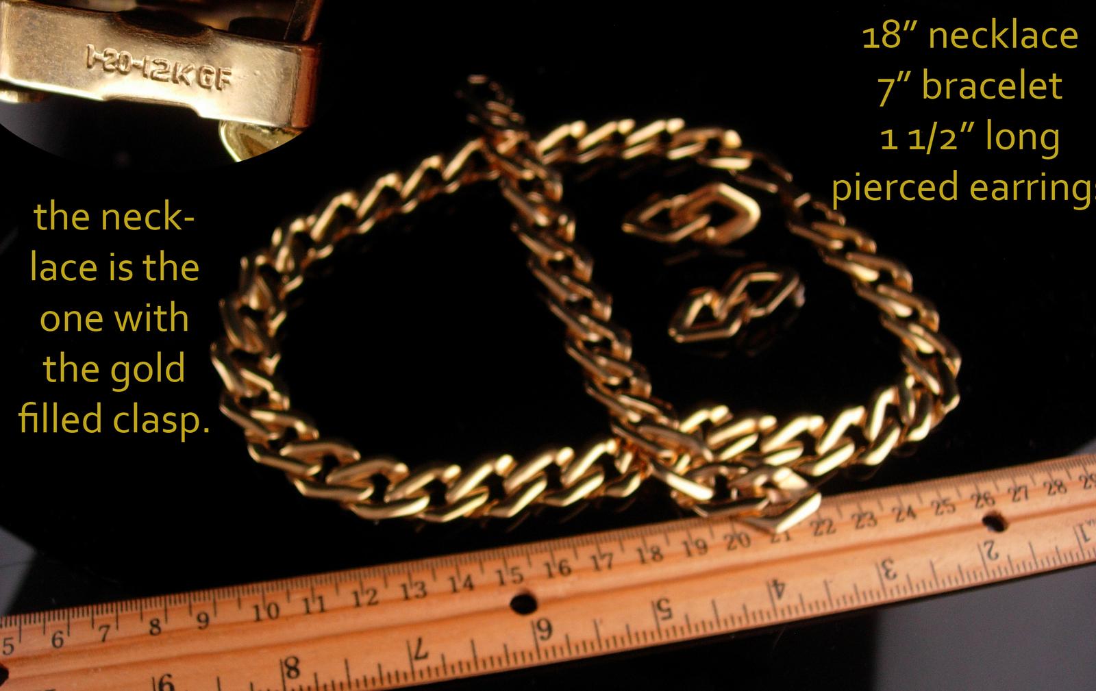 Vintage Chain Parure/ huge chain necklace / Large gold bracelet / pierced earrin